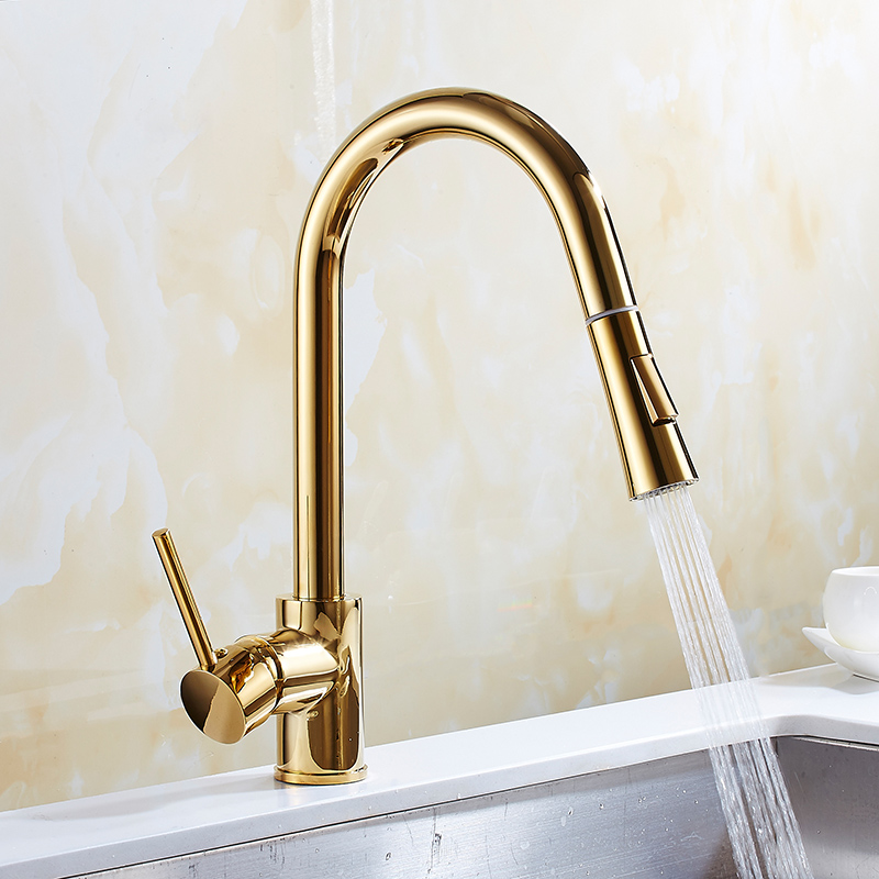 Free Shipping Pull out Kitchen faucet golden Brass Swivel Kitchen Sinks Faucet 360 degree rotating basin