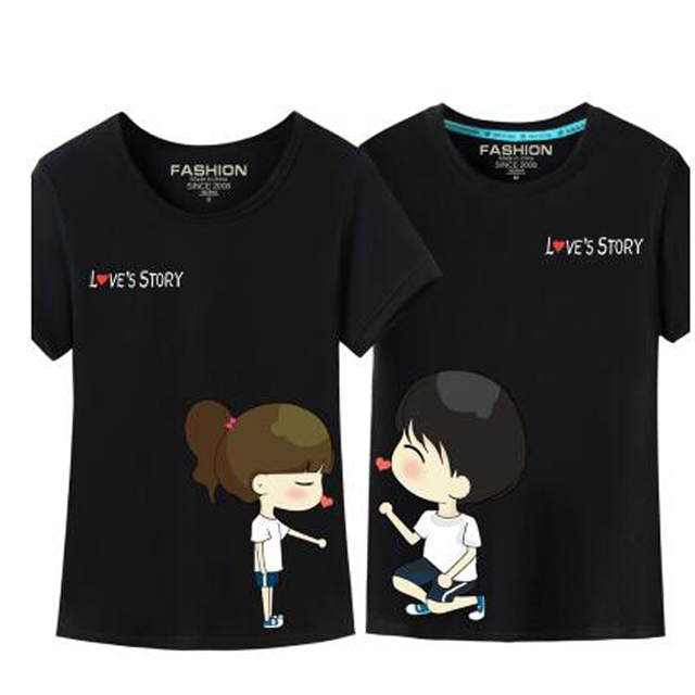 Cute Cartoon T-Shirt Lovers Clothes Male Female O-Neck Short Sleeve Funny T Shirts Korean Matching Couple Outfits Poleras Mujer