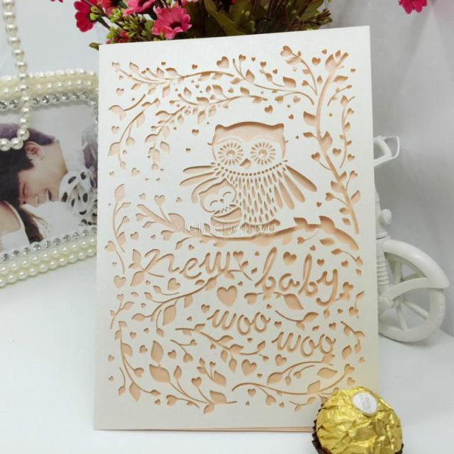 10 Pcs Hollow Laser Cut Owl Wedding Party Event Invitation Card