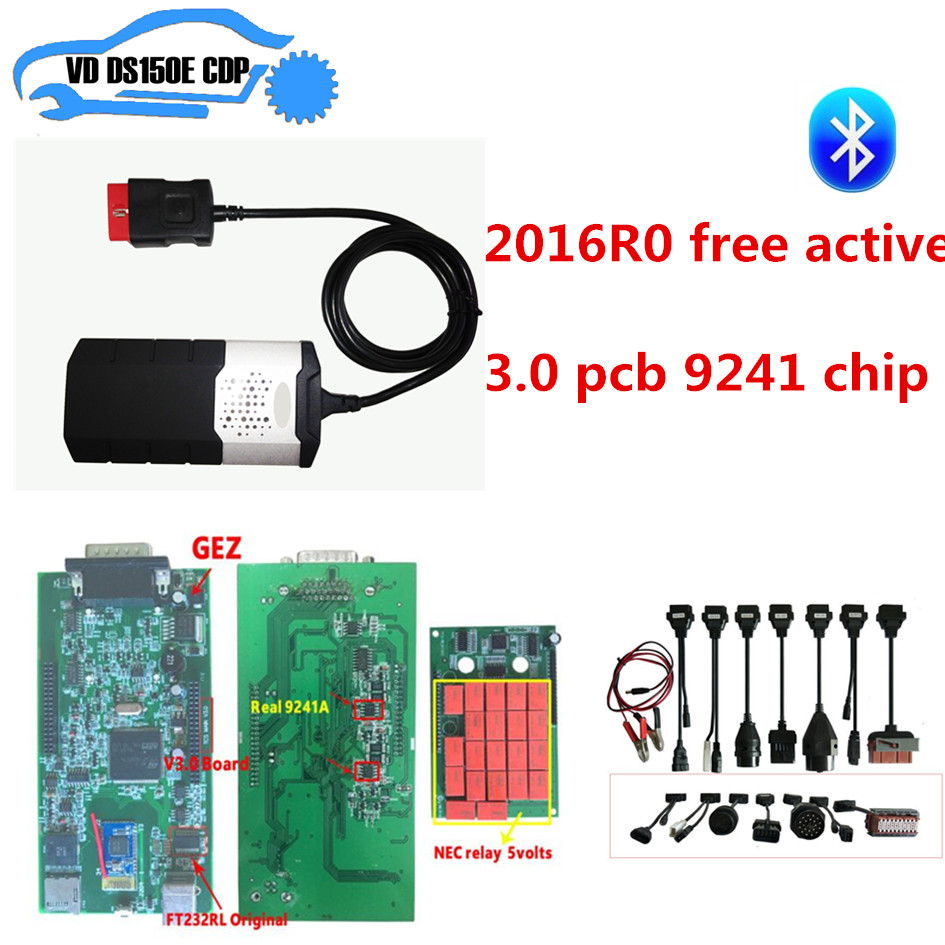 2016R0 free active CD for delphis vd ds150e new vci cdp pro plus with 3.0 pcb 9241 chip with bluetooth +8pcs full set car cable цена
