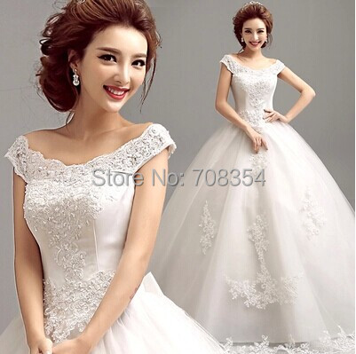 Hot Sale Boat Neck Lace  Embroidery Princess Wedding Dress 721