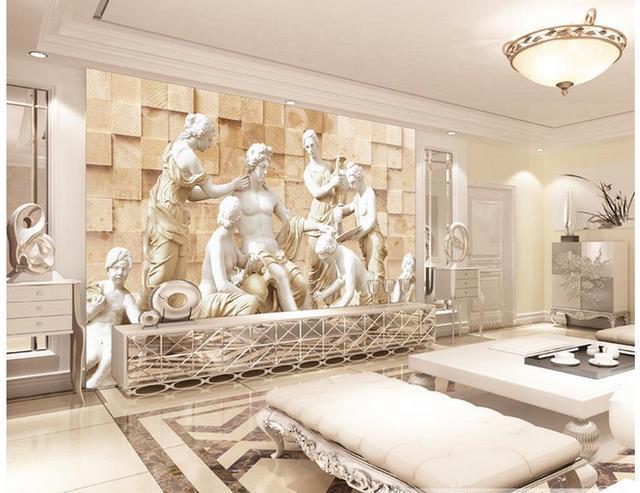 3d Wallpaper Statue Europäischen 3D Hintergrund Hintergrundbilder Für  Wohnzimmer Dekoration