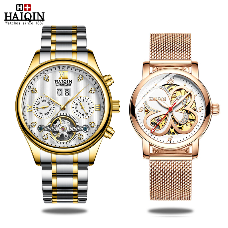HAIQIN Mens/Ladies watches Automatic mechanical Mens Watches top brand luxury Military Waterproof Tourbillon Clock Couple SetHAIQIN Mens/Ladies watches Automatic mechanical Mens Watches top brand luxury Military Waterproof Tourbillon Clock Couple Set