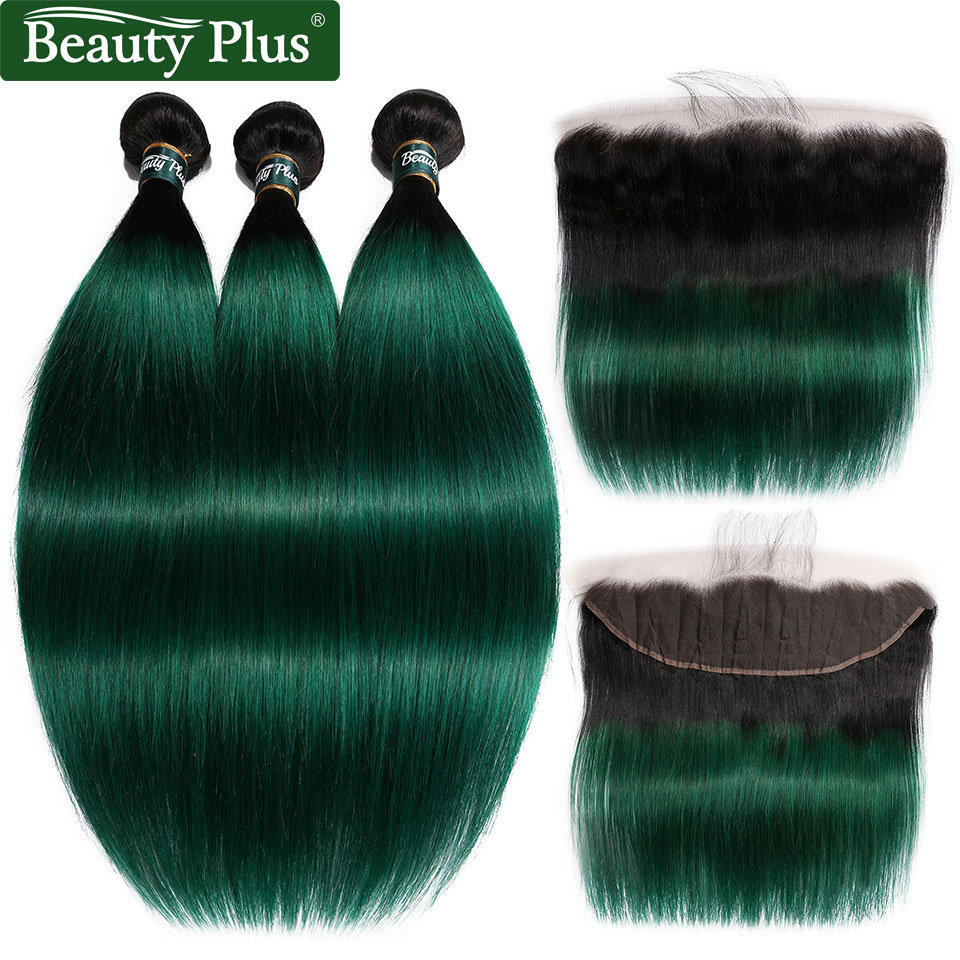 Ombre Bundles With Closure Beauty Plus Non Remy Pre Colored 2 Tone Green Human Hair Straight Weaves And Ear To Ear Lace Frontals