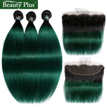 Ombre Bundles With Closure Beauty Plus Non Remy Pre Colored 2 Tone Green Human Hair Straight Weaves and Ear To Ear Lace Frontals(China)