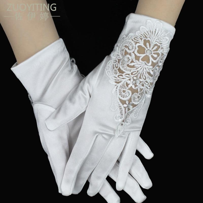 ZUOYITING नई सस्ते स्टॉक में सफेद स्फटिक कम दुल्हन फीता शादी के दस्ताने दुल्हन दस्ताने शादी के सामान के साथ24