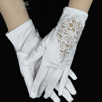 ZUOYITING New Cheap In Stock White Rhinestone Short Bride With Fingers Lace Wedding Gloves Bridal Gloves