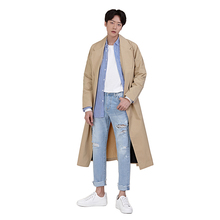 Japan Style Turn Down Collar Long Sleeve Loose Men Trench Coat 2018  Casual Youthful Cotton Lapel Male Windbreaker M-2XL lapel collar adjustable sleeve trench coat