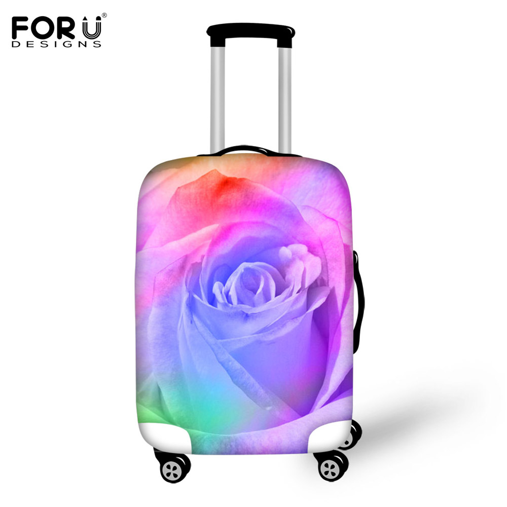 FORUDESIGNS Spandex Travel Accessories Elastic Fashion Flower 3D Print Thick Travel Suitcase Cover Waterproof Anti-dust Cover