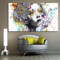 Girl FLOWER Butterfly Colour Cartoon Figure Painting Abstract Drawing Spray Oil Painting Canvas Home Decor Frameless
