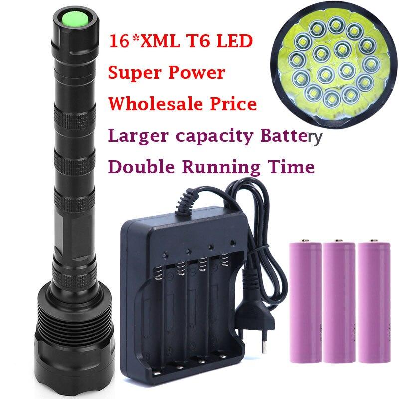 Мощный 32000LM 16T6 16 * XM-L T6 светодио дный фонарик свет лампы для охоты Отдых на природе с 3 * Высокое качество 18650 аккумулятор и Зарядное устройство