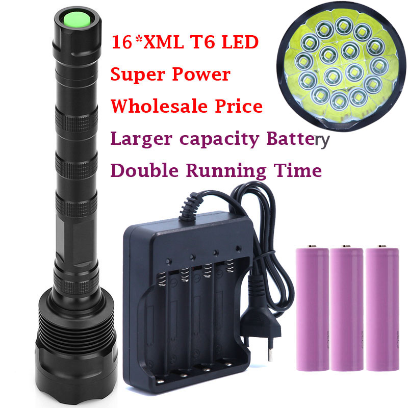Powerful 32000LM 16T6 16*XM-L T6 LED Flashlight Torch Lamp Light For Hunting Camping with 3*High Quality 18650 battery & Charger 2017 new powerful cree xml t6 xm l l2 zoom lantern waterproof rechargeable flashlight led 18650 battery lamp hand light torch