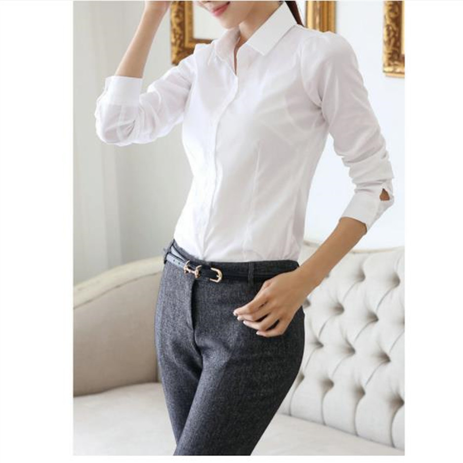 Korean Style Women Formal Clothing Solid Color Fashion Office Work Wear Long Sleeve Blouse Turn down Collar Elegant Lady Shirt in Blouses amp Shirts from Women 39 s Clothing