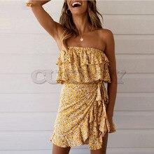 купить Cuerly 2019 summer floral print off shoulder dress women ruffle bow mini dress boho beach dress L5 по цене 1862.1 рублей
