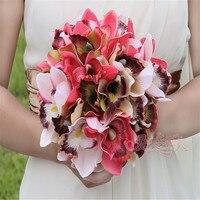 Romântico pano de seda da flor do casamento artificial bando orquídea fadeless amor decoração do casamento buquês de noiva diy artesanato