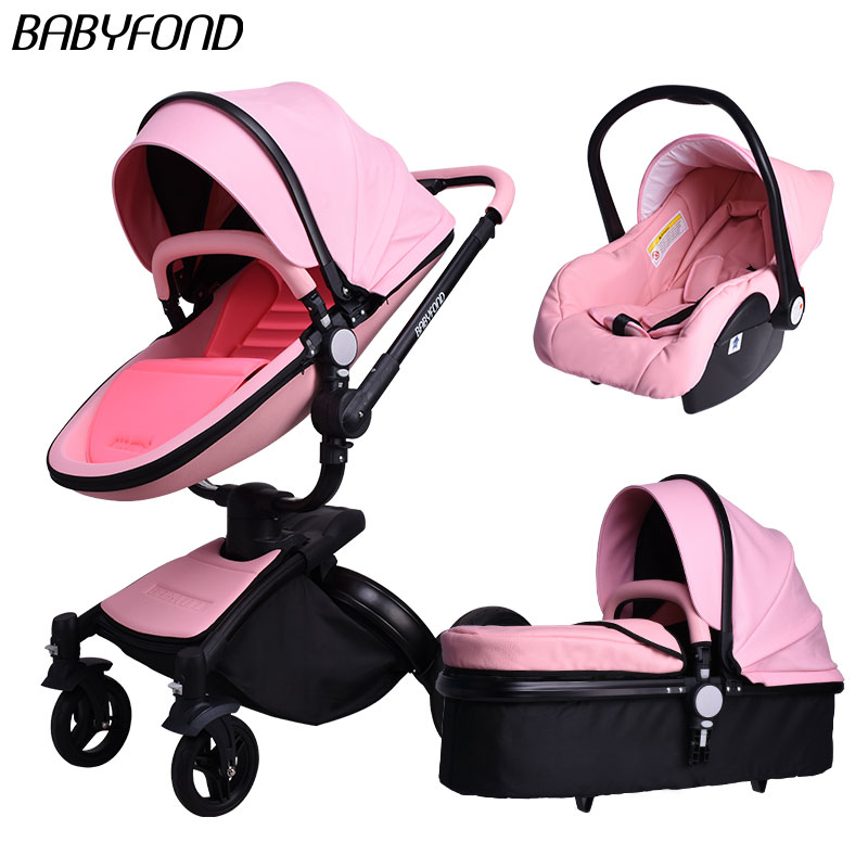 3 in 1 baby stroller High quality 2018 Brand baby car baby umbrella folding light strollers leather four wheels export pram