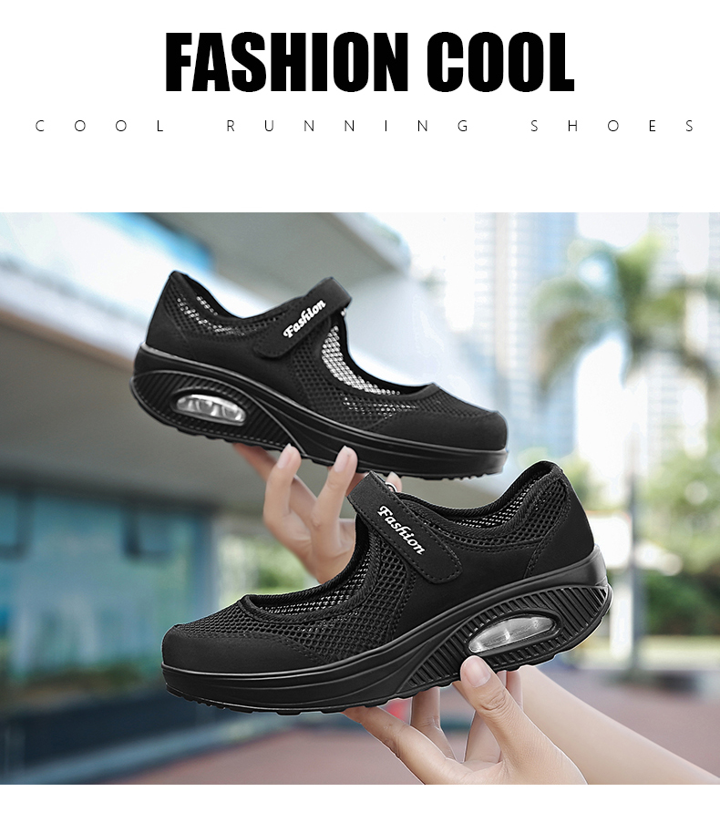 STS Brand 2019 New Fashion Women Sneakers Casual Air Cushion Hook & Loop Loafers Flat Shoes Women Breathable Mesh Mother`s Shoes (9)