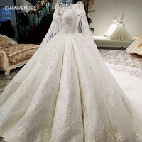 LS07949 real picture fixed detachable long cape scoop neck lace up back white color big skir 2018 new popular wedding dress 2018