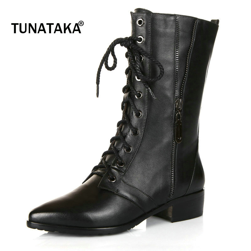 Shoes Woman Genuine Leather Lace Up Riding Boots Pointed Toe Suqare Heel Zipper Party Winter Mid Calf Boots Black spring black coffee genuine leather boots women sexy shoes western round toe zipper mid calf soft heel 3cm solid size 36 39 38