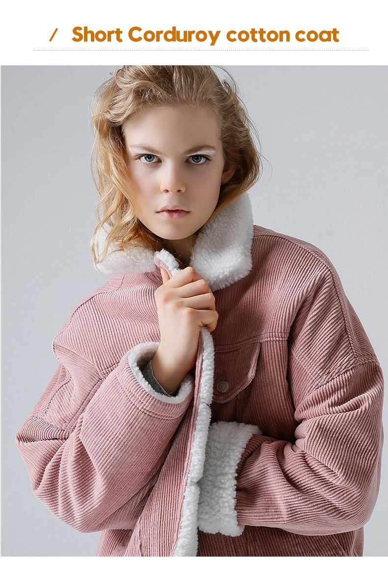 HTB1AuWfiVcJL1JjSZFOq6AWlXXaz Toyouth Autumn Winter Corduroy Basic Jacket Lambswool Bomber Jacket Women Long Sleeve Jacket Casual Single Breasted Denim Jacket
