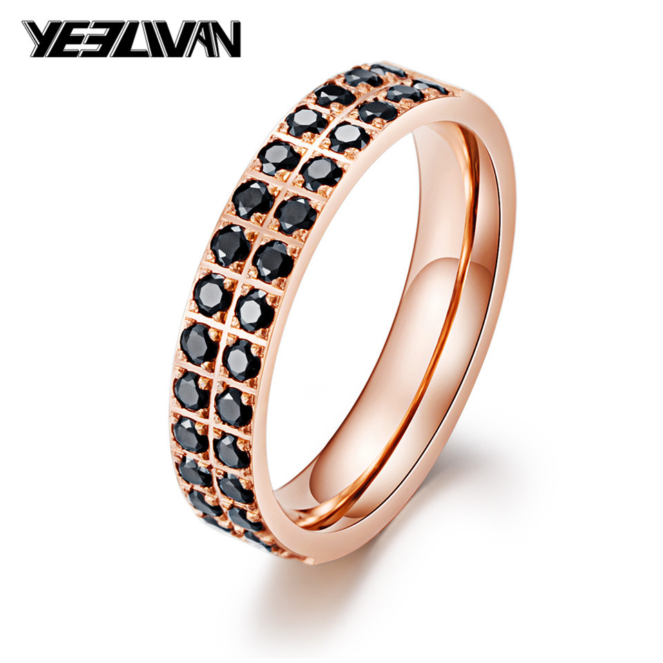 Fashion Black Stone Punk <font><b>Rings</b></font> Full Zircon Titanium steel Wedding <font><b>Rings</b></font> for Women Rose Gold Color Charm Party Jewelry <font><b>bisexual</b></font> image