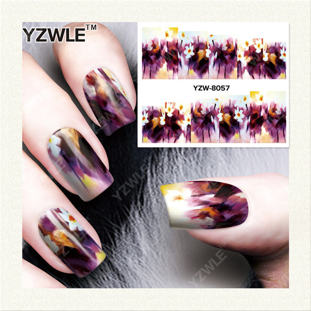 YZWLE 1 Sheet DIY Decals Nails Art Water Transfer Printing Stickers Accessories For Manicure Salon YZW-8057