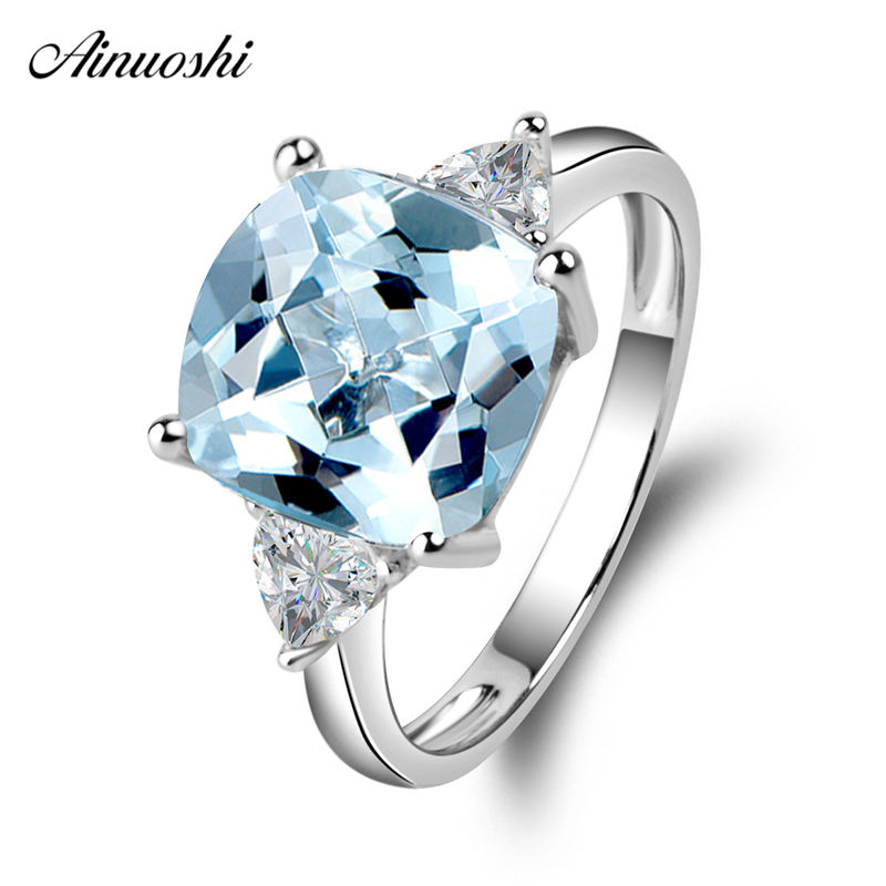 AINUOSHI 3 Stones Ring 925 Silver Blue Topaz Square Ring 5 Carat Cushion Cut Gemstone Engagement