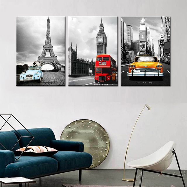 Eiffel Tower New York City Canvas Prints Modular Pictures 3 Panels ...
