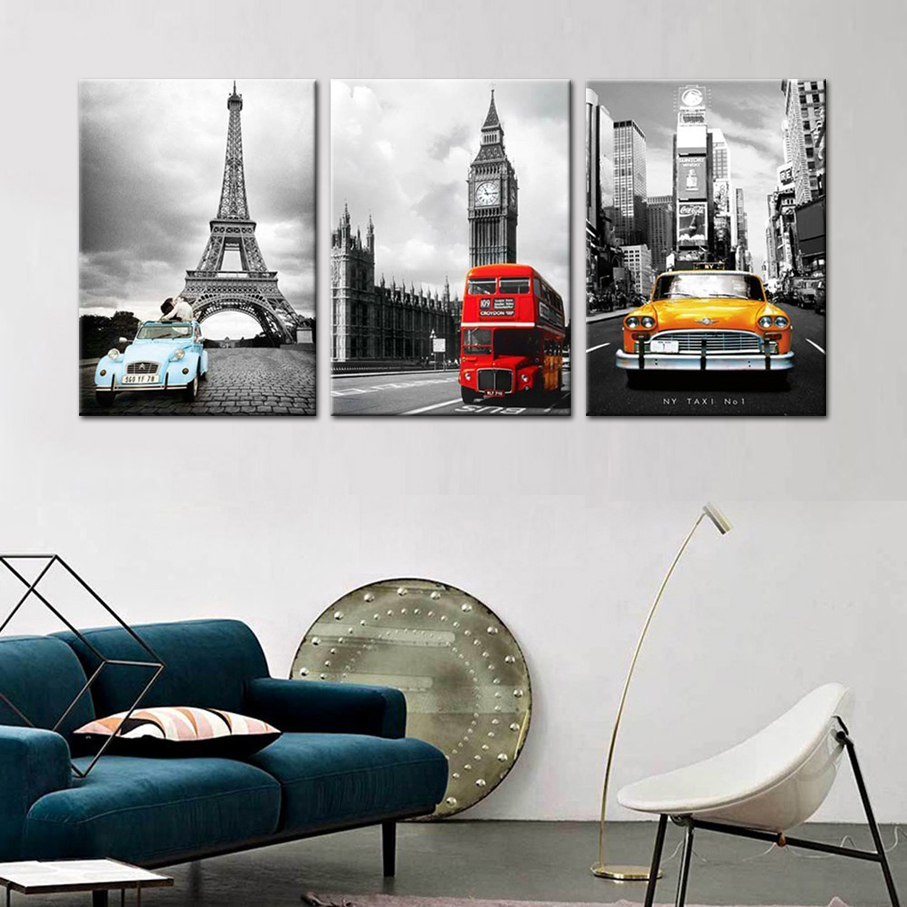 Eiffel Tower New York City Canvas Prints Modular Pictures 3 Panels Wall Art  Office Home Decoration