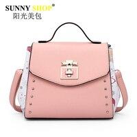 SUNNY SHOP Brand Women Handbag Fresh Style Lady Shoulder Bags Cute Pink Clutch High Quality Pu
