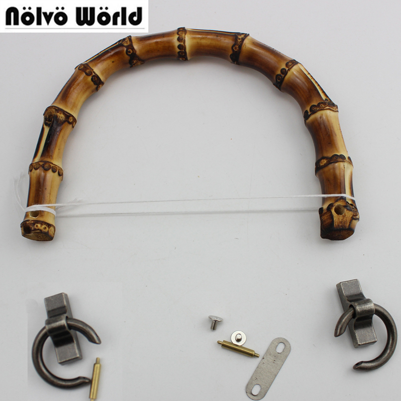 5 Pairs=10 Pieces,15.5X12cm 2 Types Hole Natural Bamboo Handles For Bags, Nature Bamboo Handle For DIY Bags Purse