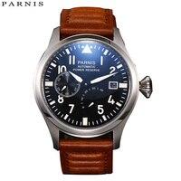 Sıcak satış 47mm Parnis izle erkekler iş otomatik mekanik saatler siyah PVD kasa beyaz kadran ışık numaraları