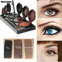 3 In 1 Waterproof Smooth Eye Liner 3 Colors Eyeliner Gel Makeup Palette Black Brown Light