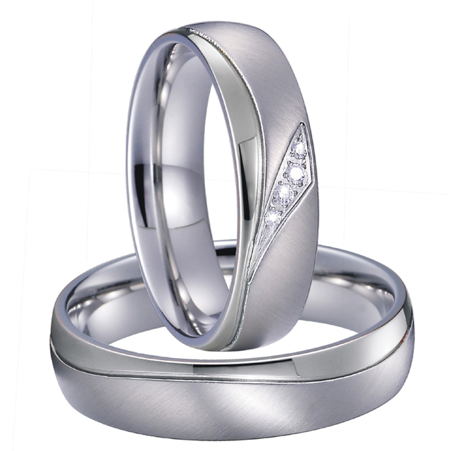 Mens Alliances Wedding Band Couple Ring Silver Color Titanium Jewelry Promise Anniversary Engagement Rings for women
