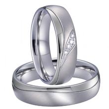 Alianzas amor matrimonio conjunto de anillos de boda para hombres y mujeres titanio color plateado Acero inoxidable joyería No se decolora/se oxida