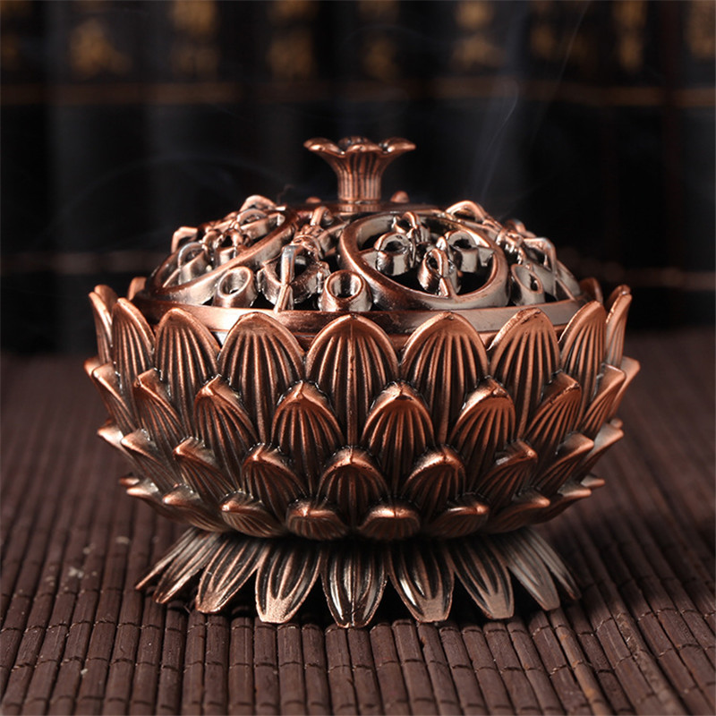 Classical Style Incense Burner Home Decor Sandal Incense Burner Antique Antique Indispensable Classic Metal Lotus Shape