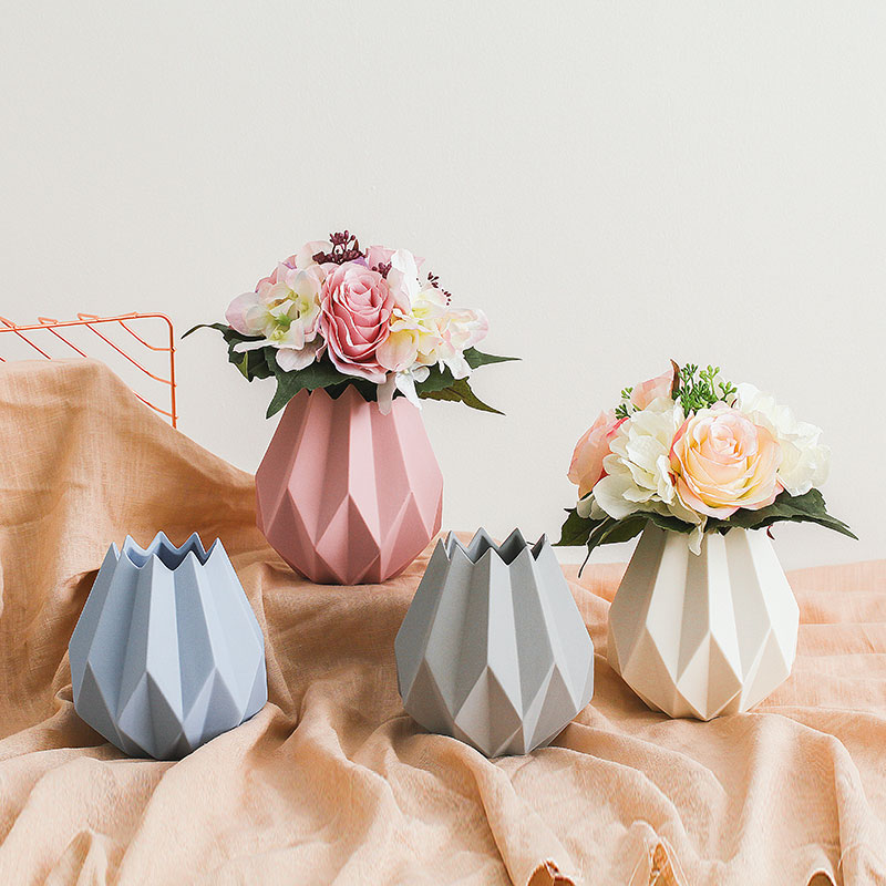 New Modern Minimalist Ceramic Vase Home Decoration Accessories Mini Vases Origami Flower Pot For Wedding In From Garden On