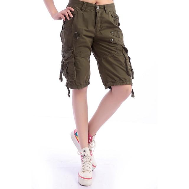 2739873e89633 Summer Military Cargo Pants Women leisure multi-pocket Cotton Army Green  Casual Trousers Female Plus Size 38 Beach Capris