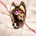 Full Face Hand-Painted Japanese Fox Mask Kitsune Black Cosplay Masquerade for Party Carnival Halloween