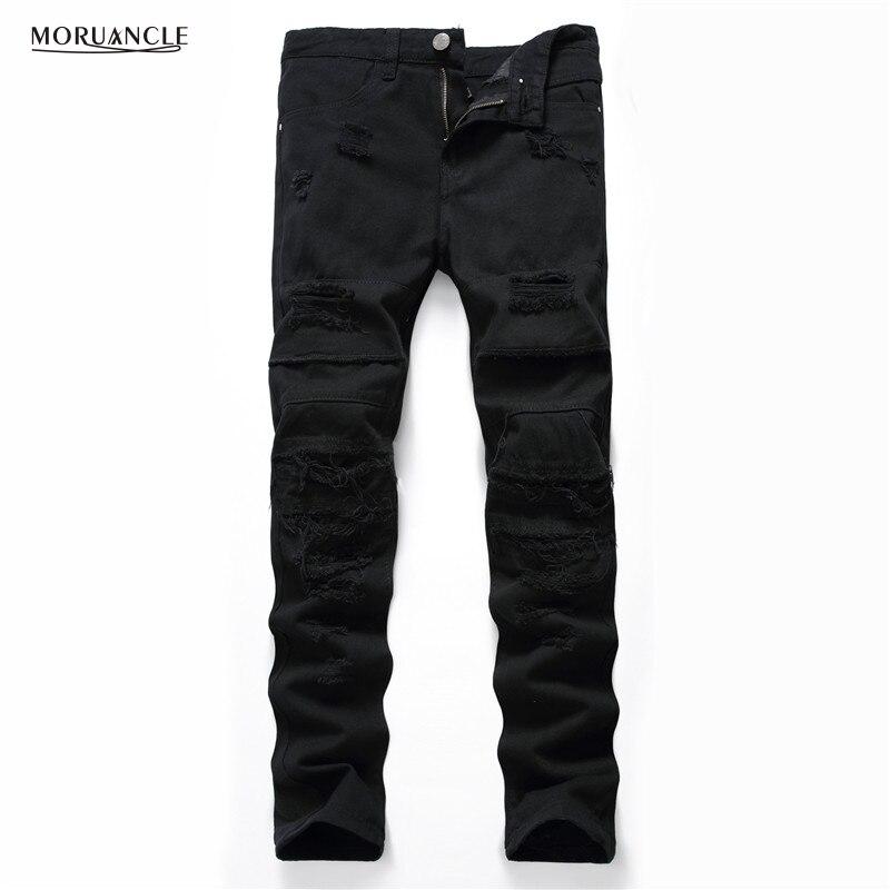 Newsosoo New Men's Black Ripped   Jeans   Pants Fashion Distressed Denim Joggers Hi Street   Jean   Trousers For Male Plus Size 27-40