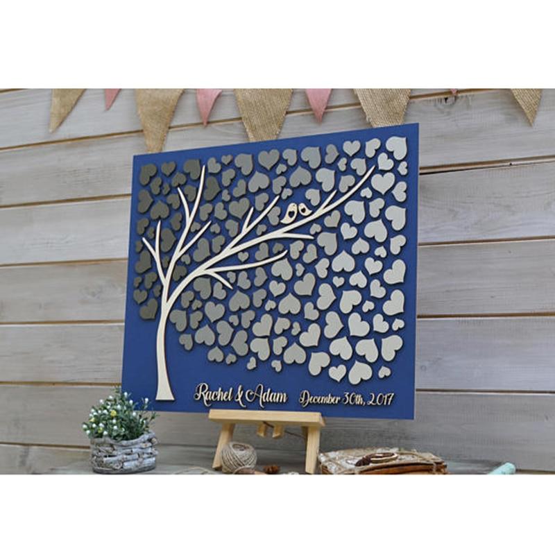 Personnalisé gris mariage livre d'or alternative arbre bois, coeurs rustique livre d'or, Unique livre d'or en bois arbre de vie cadeau
