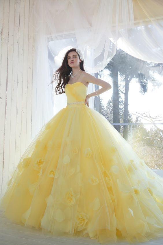Princesse robe de bal Quinceanera robes oie jaune doux 15 ans robe sans bretelles Floral bal robes de grande taille robes de soirée