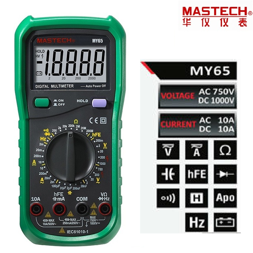 MASTECH MY65 Digital Multimeter DMM AC/DC Voltmeter Ammeter Ohmmeter w/ Capacitance Frequency & hFE Test Voltimetro Tester цена