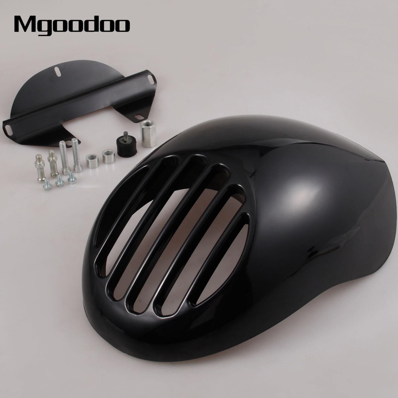 Mgoodoo Grill Headlight Fairing Mask Motorcycle Front Cowl Fork Mount For Harley Sportster Dyna XL 883 FXRS Motorbike Parts