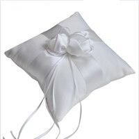 1 pc Fita de Cetim Bowknot Do Vintage 15*15 cm Pillow Anel de Casamento com Lace Flower Decor Nupcial Mariage Decoração
