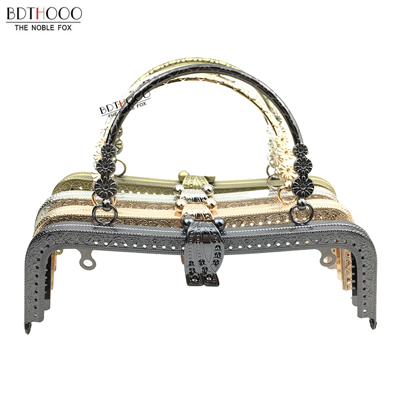 BDTHOOO 20cm Metal Purse Frame Handle Clutch Bag Accessories DIY Kiss Clasp Lock Bronze Embossing M-shaped HandBag Hardware