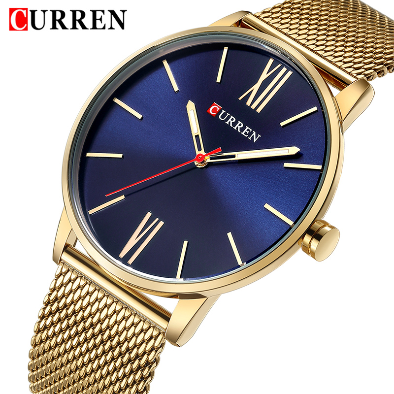 2018 CURREN Top Brand Men Gold Quartz Watches Mens Stainless Steel Waterproof Watch Man Fashion Analog Clock Relogio Masculino 2017 fashion casual mens watch gold stainless steel watches men quartz wristwatches sliver skull clock for man christmas gift
