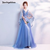 Darlingoddess Robe De Soiree 2018 Long Sexy Evening Dress Blue V Neck Backless Tulle Formal Evening Gowns Dresses Real Photos