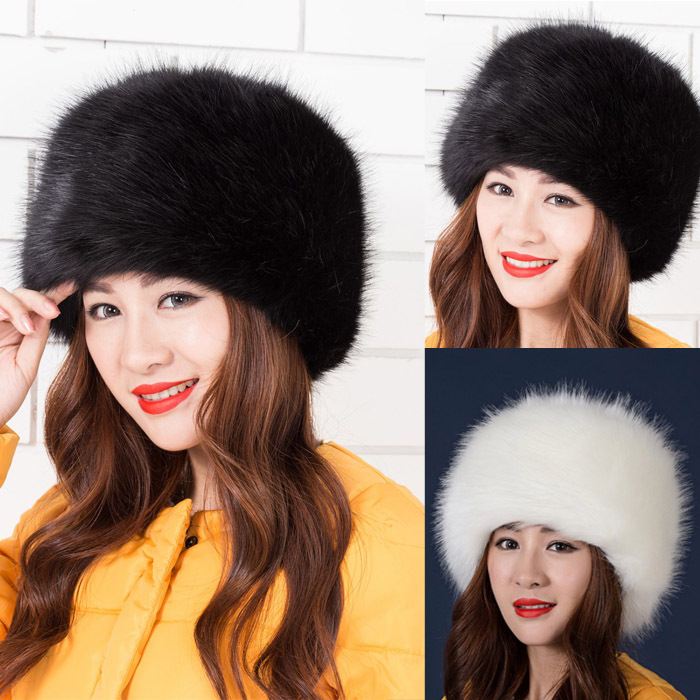 2017 Newest Women's Fashion Faux Fox Fur Winter Warm Lady Women Soft Ski Hat Cossack Charm Beanies Caps Female Headgear