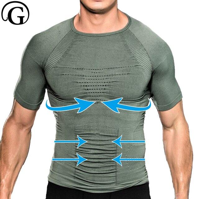 Workout Tops PRAYGER Gynecomastia Body Shaper Men Chest Binder Corset Slim Lift T Shirt Beer Belly Undershirt Tummy Trimmer